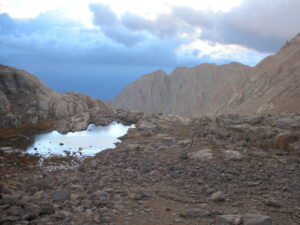 Mt. Whitney hike, the reflective pond by Trail Camp