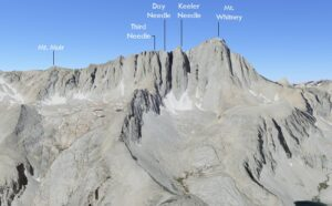 Mt. Whitney hike, labeled points on the ridgeline