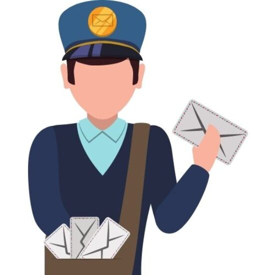 A cartoon of a mailman delivering a birth record by mail.