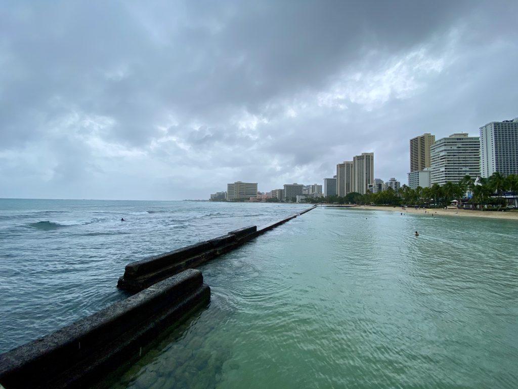 Waikiki on rainy day from the pier