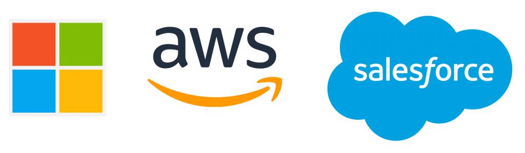 Microsoft, AWS and Salesforce logos