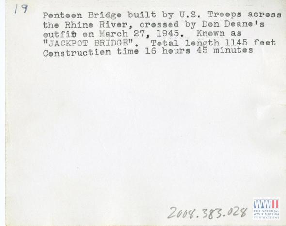 Back note of a postcard displaying Rhine river pontoon bridge, 1945