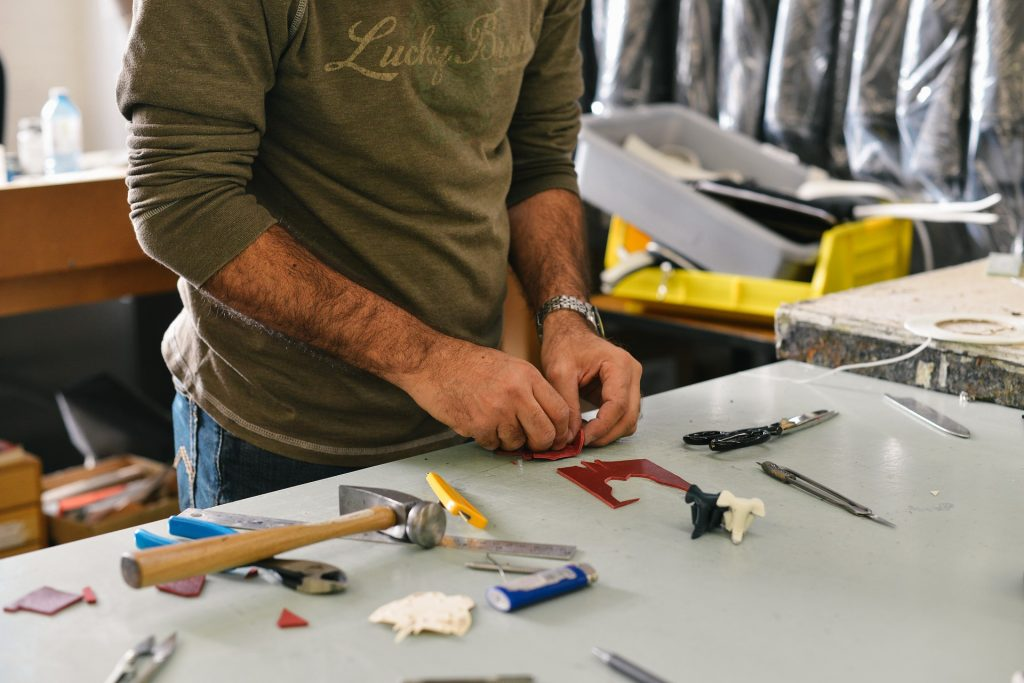 Handyman working in the garage
