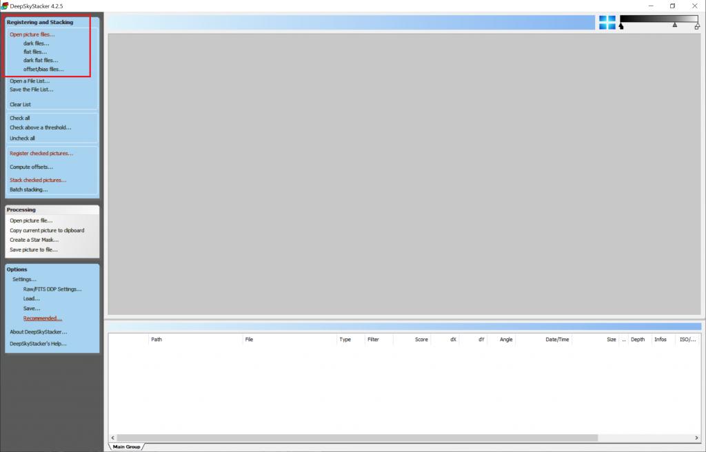 Deep Sky Stacker default workflow