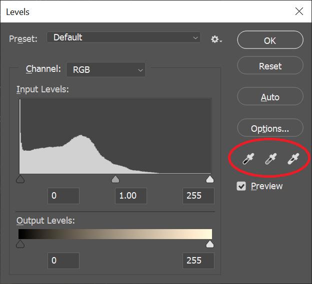 Phoshop levels adjustment