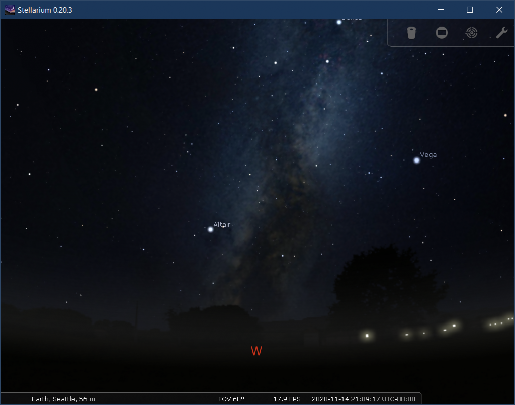 Stellarium view of the Milky Way on the night of new moon