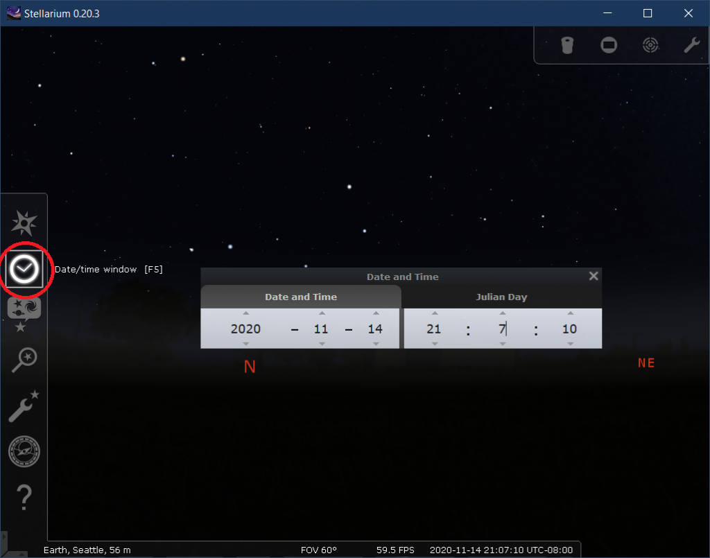 Stellarium date and time selection