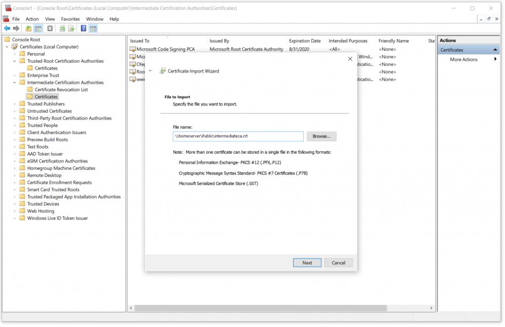 Select an Intermediate CA public certificate file