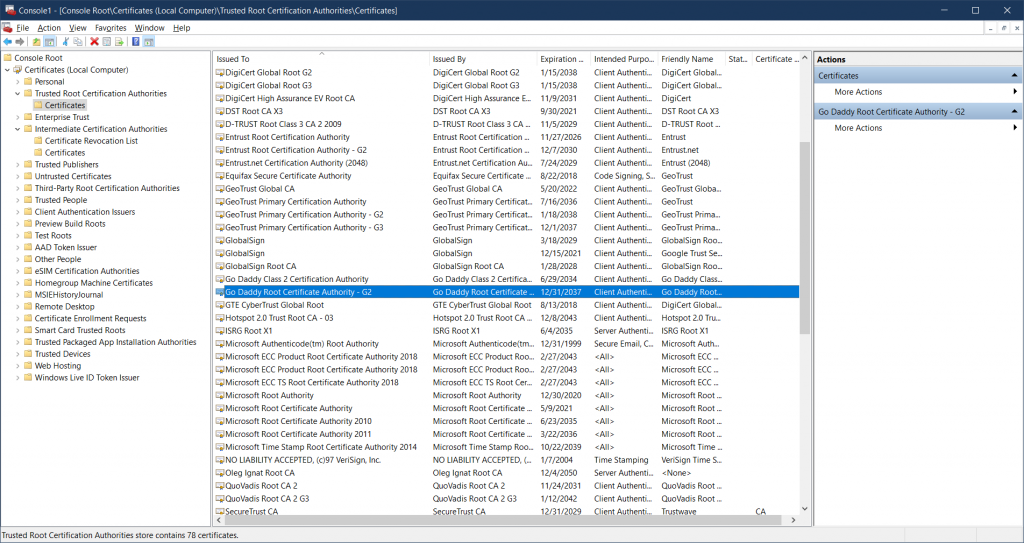 Trusted Root Certification Authorities on Windows
