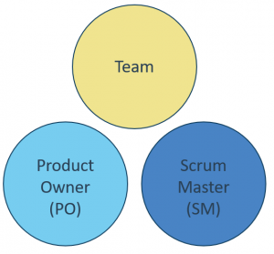 Scrum roles of Team, Product Owner and Scrum Master