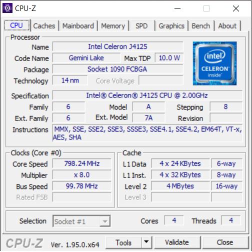 GMK NucBox CPU-Z Page 1 showing base CPU information