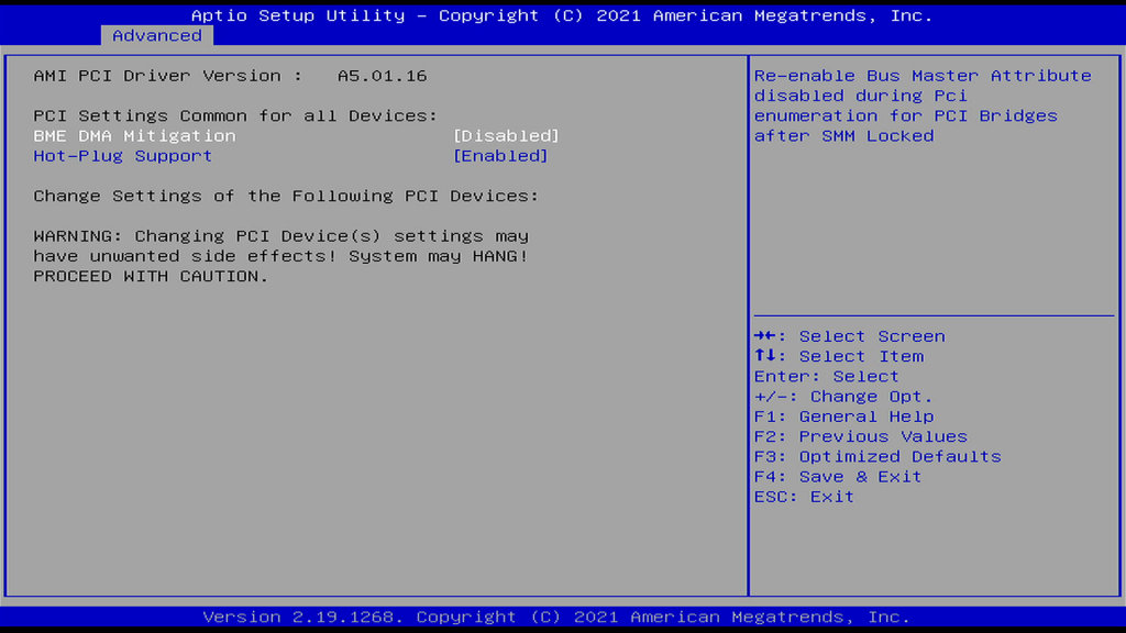 PCI Subsystem Settings Page