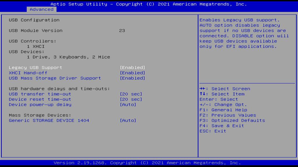 USB Configuration Page