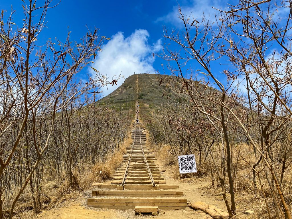 Koko head trail entrance and view towards the top