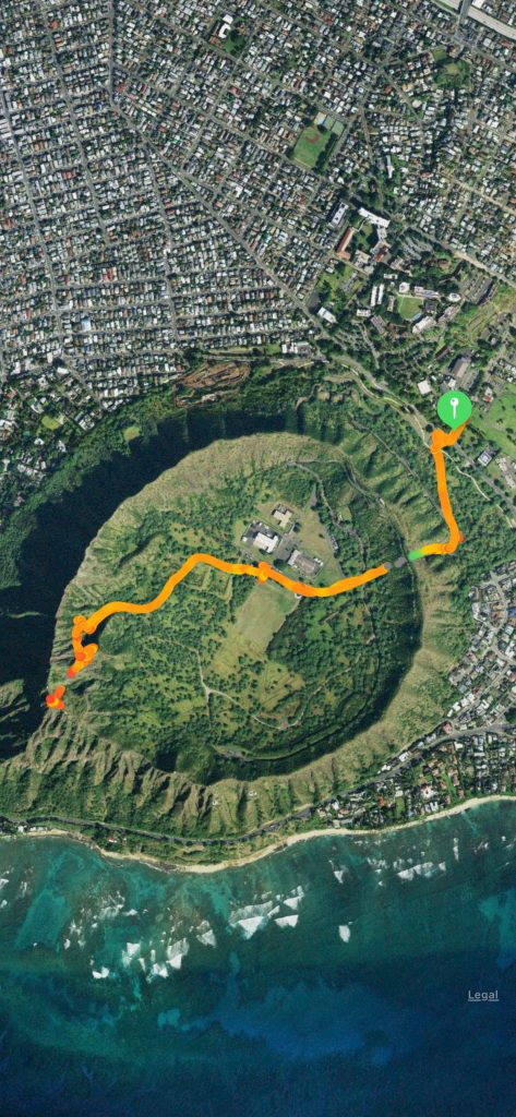 Diamond Head State Park satellite picture of the hike route recorded with Apple watch.