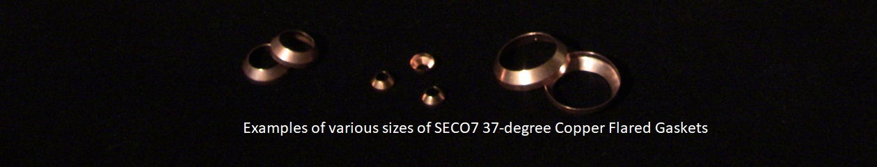 Examples of various sizes of SECO7 37-degree Copper Flared Gaskets
