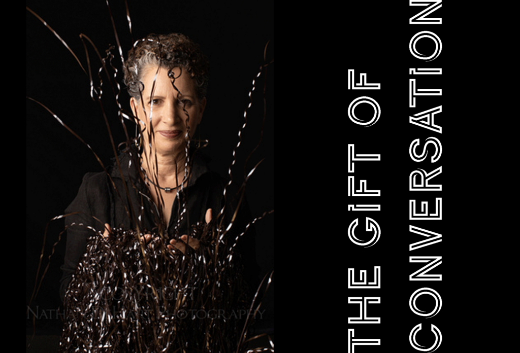 Title on Image: The Gift of Conversation. Image of Maria Cristini Executive Coaching catching cassette tapes filled with coaching conversations.