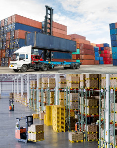 container yard and warehouse