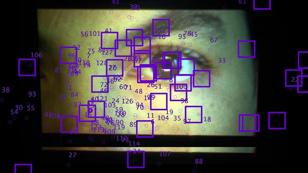 Photo of woman's eye being analyzed by computer algorithm