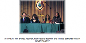 Brenda Adelman with Rev. Michael Bernard Beckwith and Rickie Byars-Beckwith