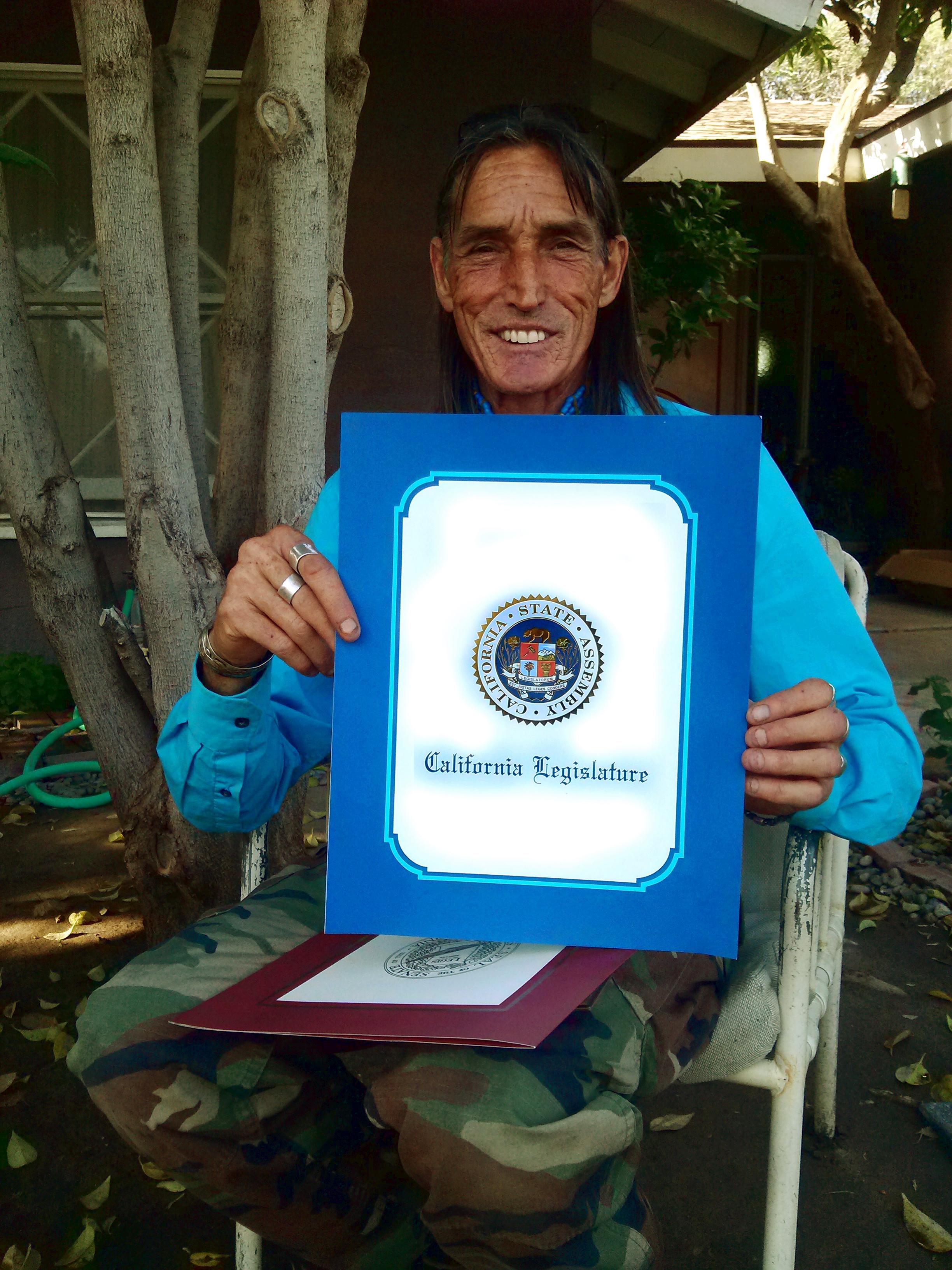 Richard Lonewolf with California Legistature Award 2