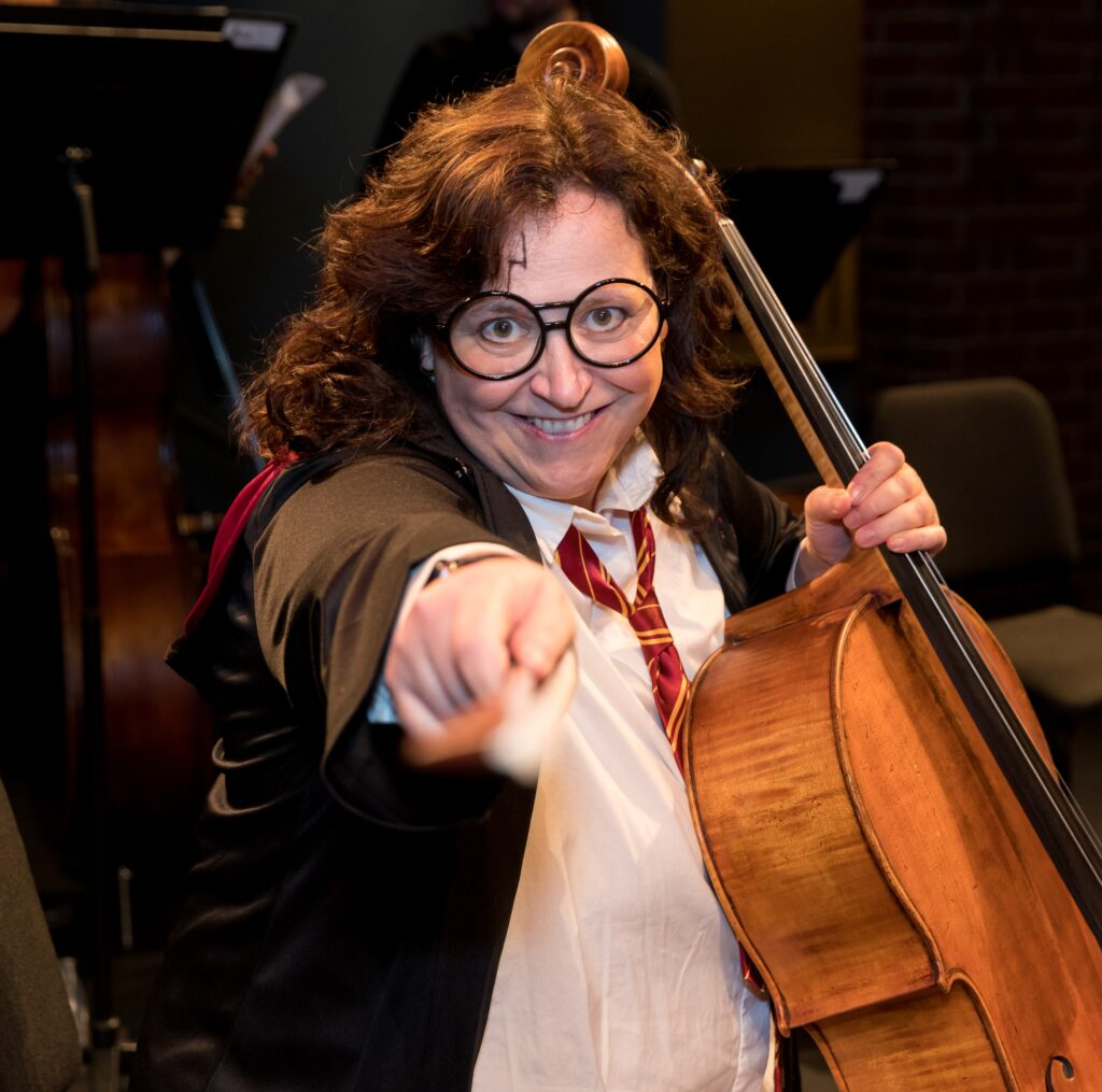 musician wearing harry potter costume