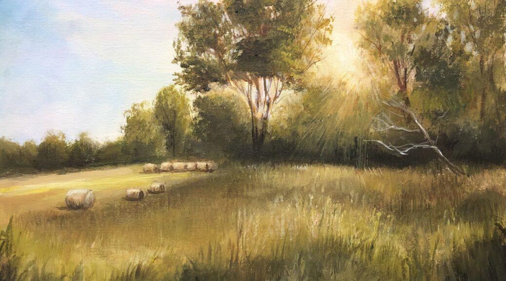 aiken hayfield landscape painting