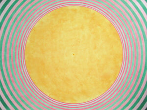 don cooper painting of yellow circle inside pink and green rings