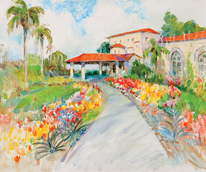 painting of house and flowers