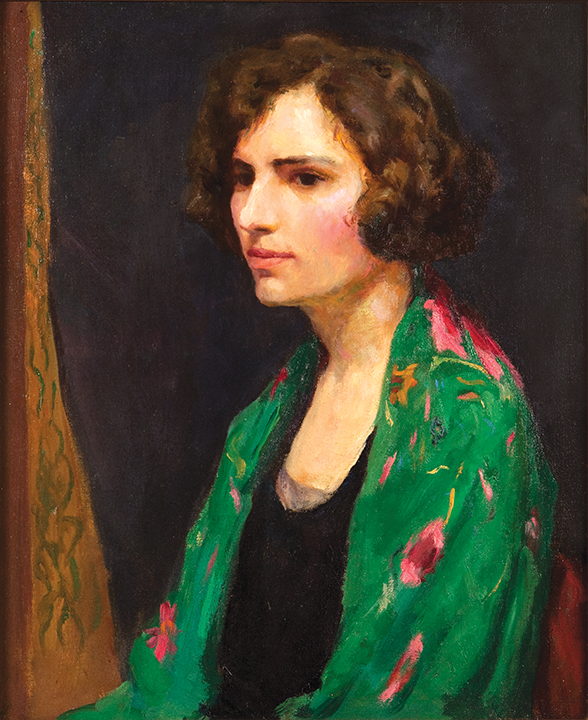 portrait of a woman in a green kimono