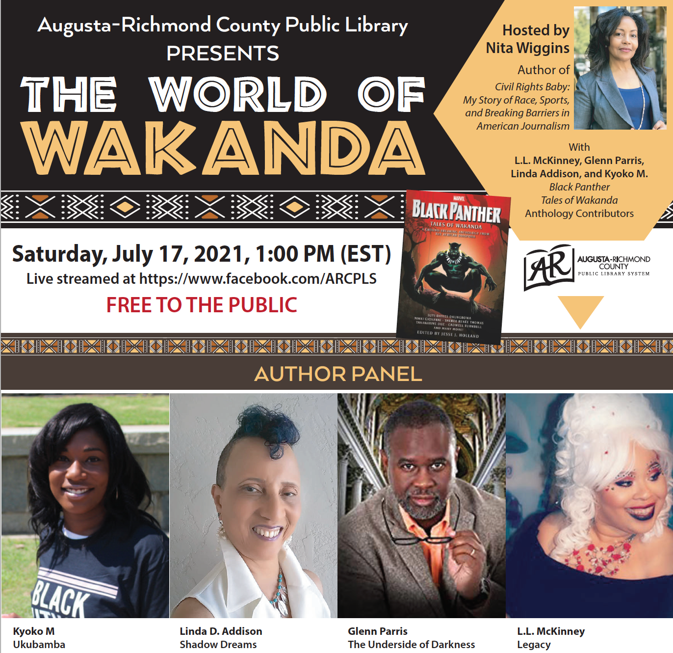 event flyer with author photos