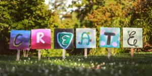 "decorative banner spelling ""create"""