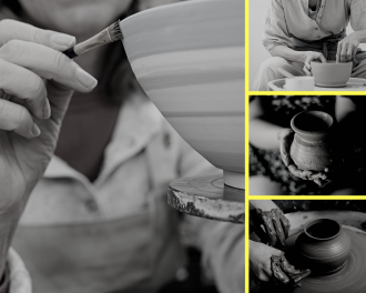 Person making a clay pot