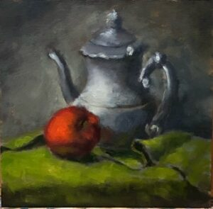 Painting of a tea kettle and apple