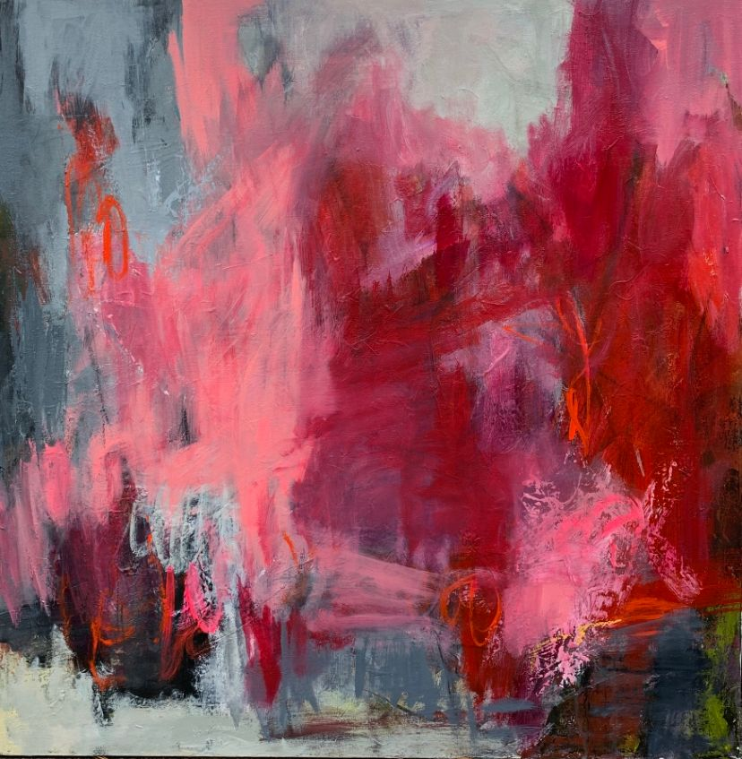 red and pink abstract painting