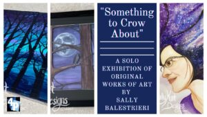 blue and purple web banner with exhibit information