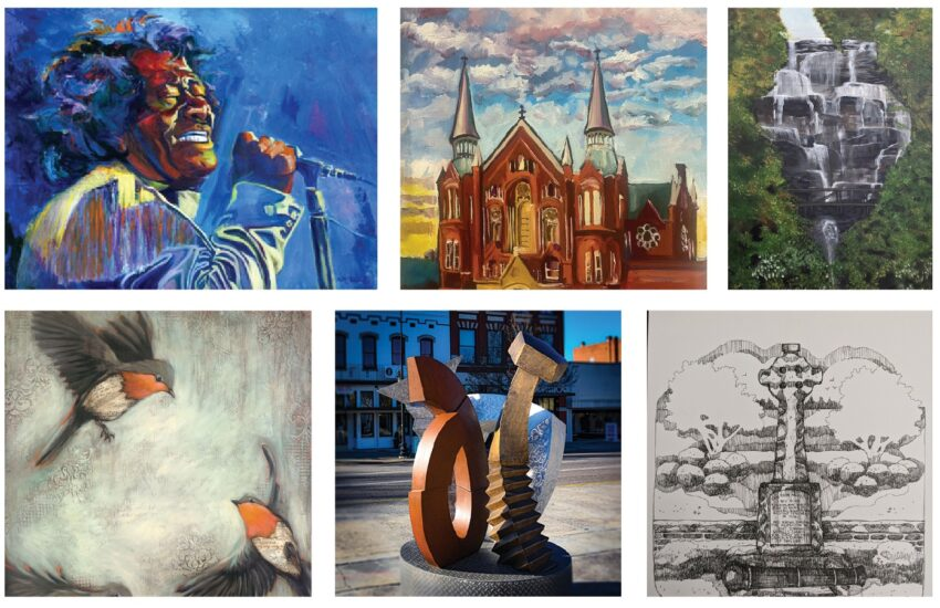 paintings and sculptures featured in exhibit