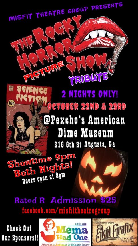 event poster with show dates and halloween decorations