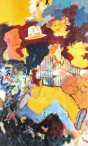 colorful painting of man running
