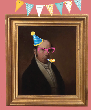 traditional portrait of a man with digitally added birthday hat and noisemaker