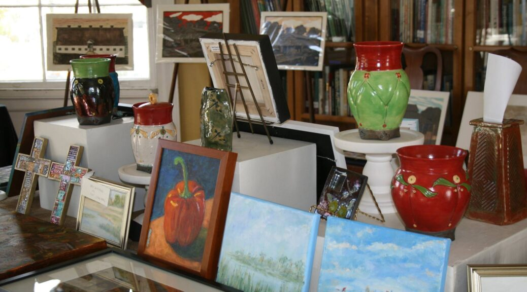 paintings and sculptures by local artists