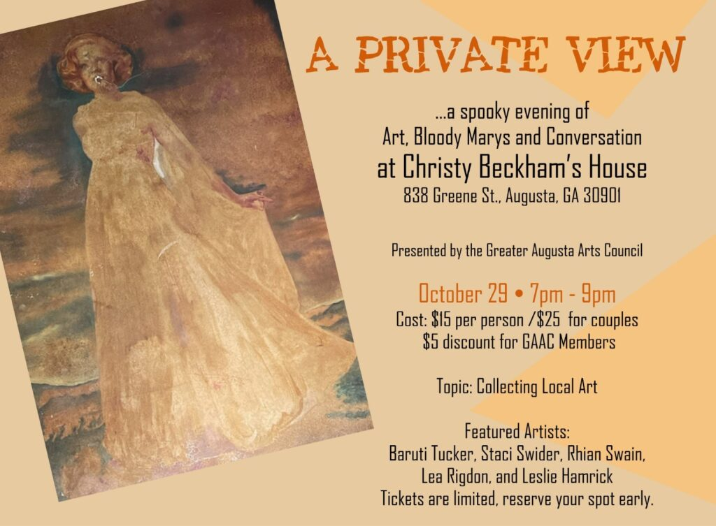 event information and painting of a woman in a cream colored dress