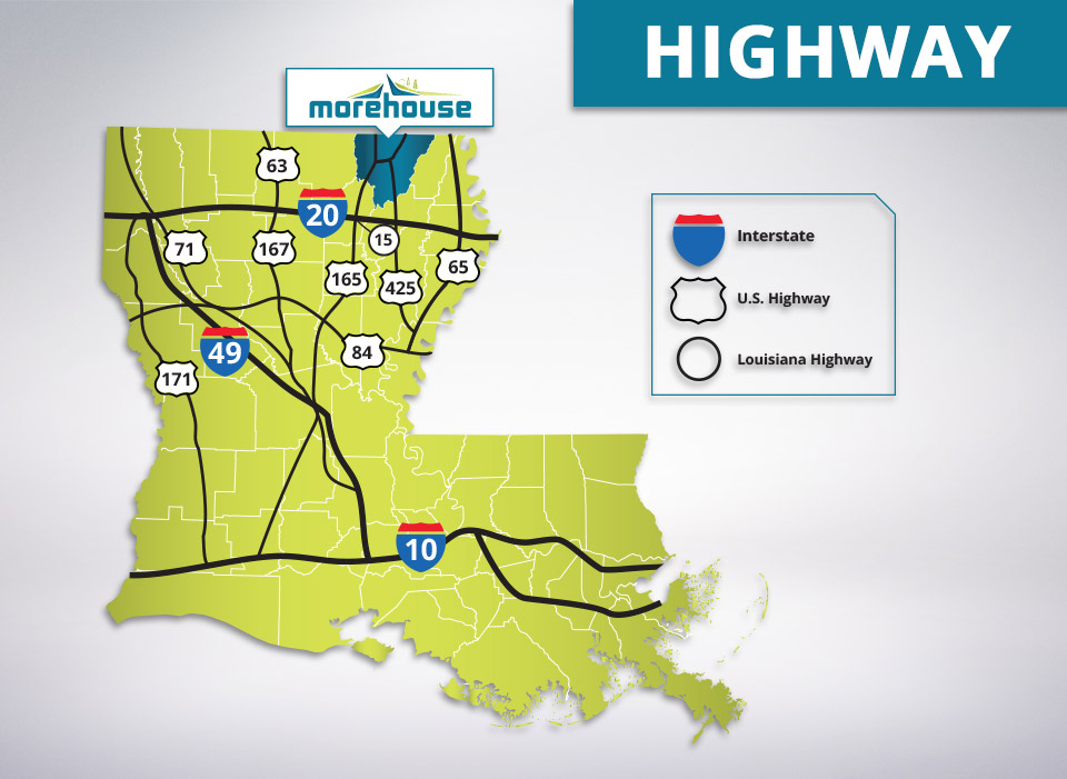 Morehouse parish interstate and roadways
