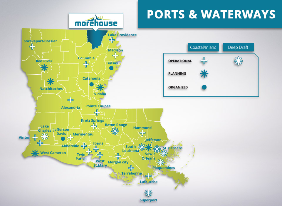 ports and waterways in Morehouse parish
