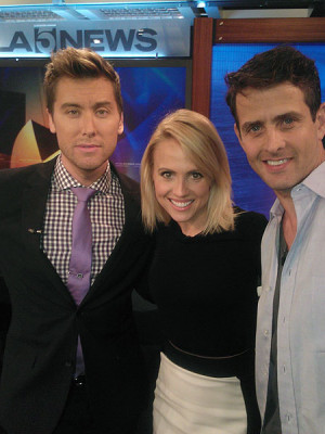 Jessica Holmes KTLA TV Anchor & TV Host with Lance Bass and Joey McIntyre