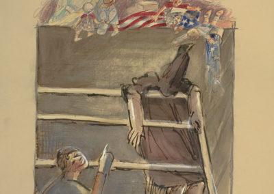 "Abu Ghraib #2, 2006, 22"" x 15"", Mixed media on paper"