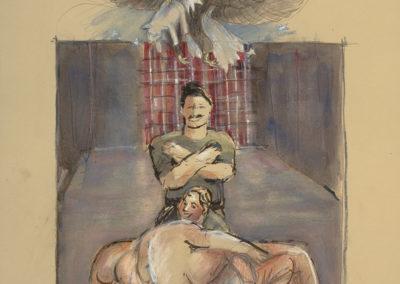 "Abu Ghraib #6, mixed media on paper, 22"" x 15"", 2006"