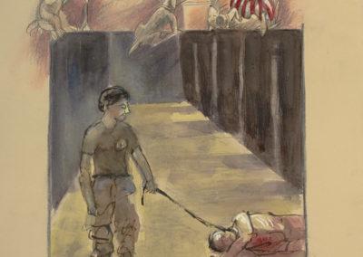 "Abu Ghraib #4, mixed media on paper, 22"" x 15"", 2006"