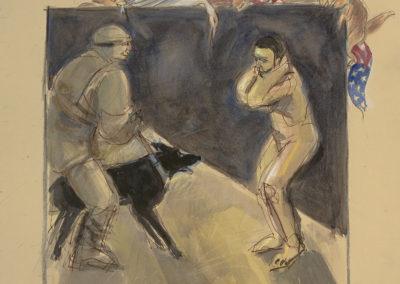 "Abu Ghraib #5, mixed media on paper, 22"" x 15"", 2006"