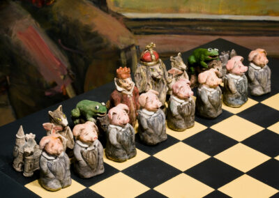 """Detail: Chess Board: Fantasy and Intellect in Combat, mixed media, 48 x 48 x 40"""", 2005"""